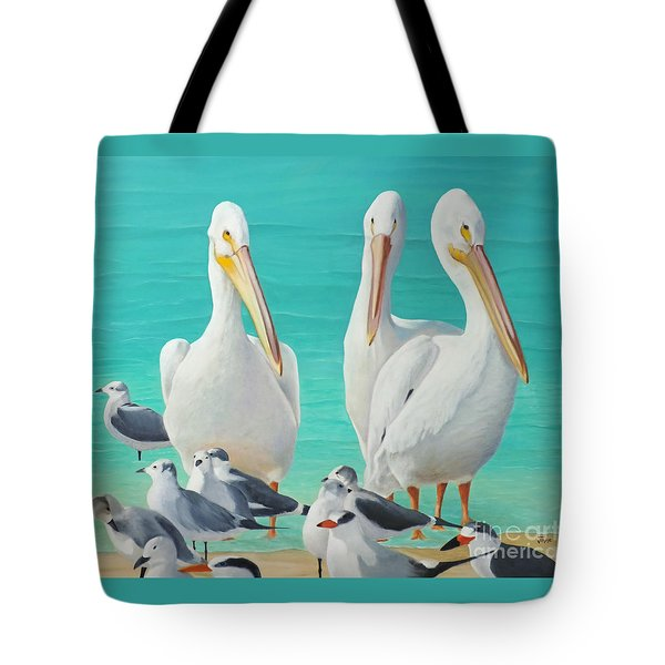 White Pelicans Tote Bag by Jimmie Bartlett