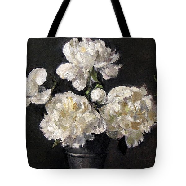 White Peonies Alone Tote Bag