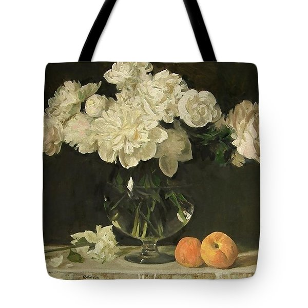 White Peonies In Giant Snifter With Peaches Tote Bag