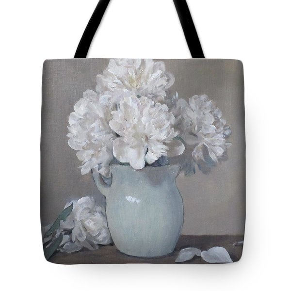 Gray Day For White Peonies Tote Bag