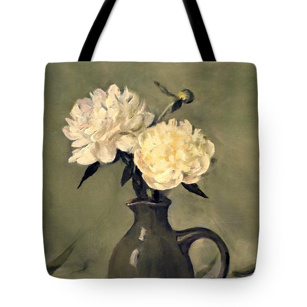 White Peonies In Small Green Pitcher Tote Bag