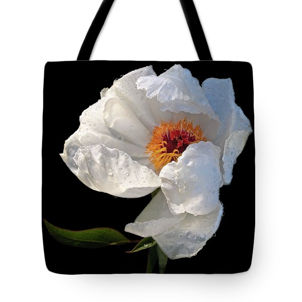White Peony After The Rain Tote Bag by Gill Billington