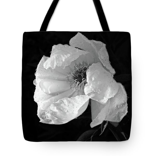 White Peony After The Rain In Black And White Tote Bag by Gill Billington