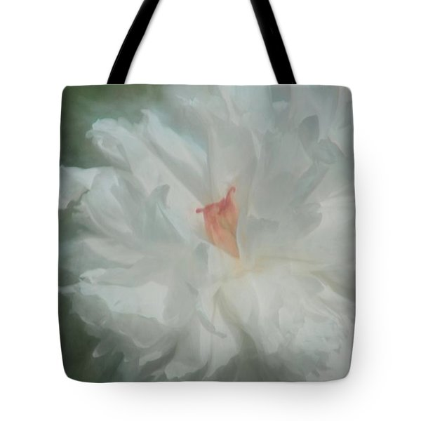 Tote Bag featuring the photograph White Peony by Benanne Stiens