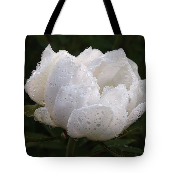 White Peony Covered In Raindrops Tote Bag by Gill Billington