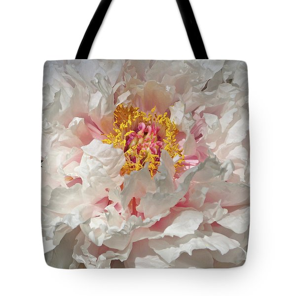 Tote Bag featuring the photograph White Peony by Sandy Keeton