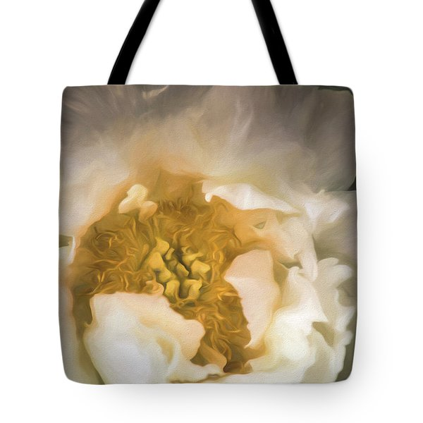 Tote Bag featuring the digital art White Peony by Teresa Wilson