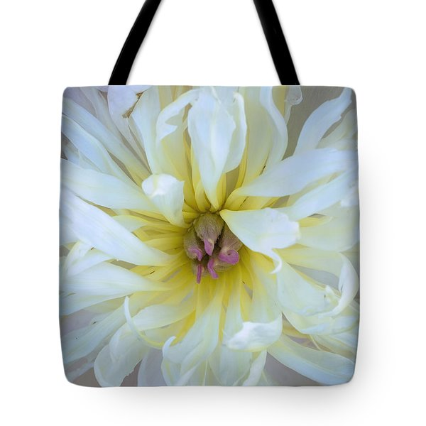 Tote Bag featuring the photograph White Peony by Tom Singleton