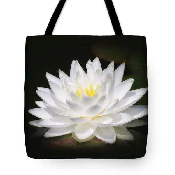 White Petals Glow - Water Lily Tote Bag by MTBobbins Photography