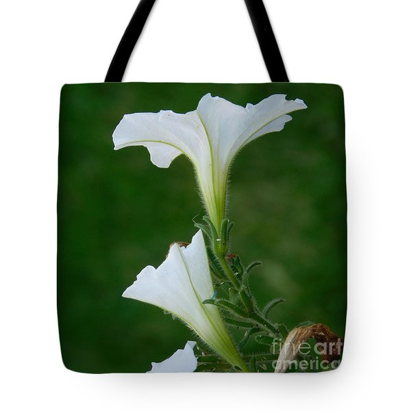 White Petunia Blossoms Tote Bag