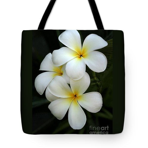 Tote Bag featuring the photograph White Plumeria by Sabrina L Ryan