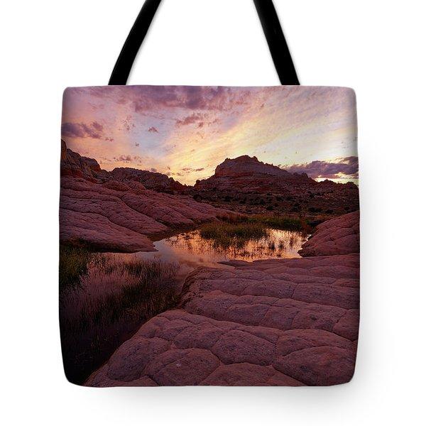 White Pocket Sunset Tote Bag by Jonathan Davison