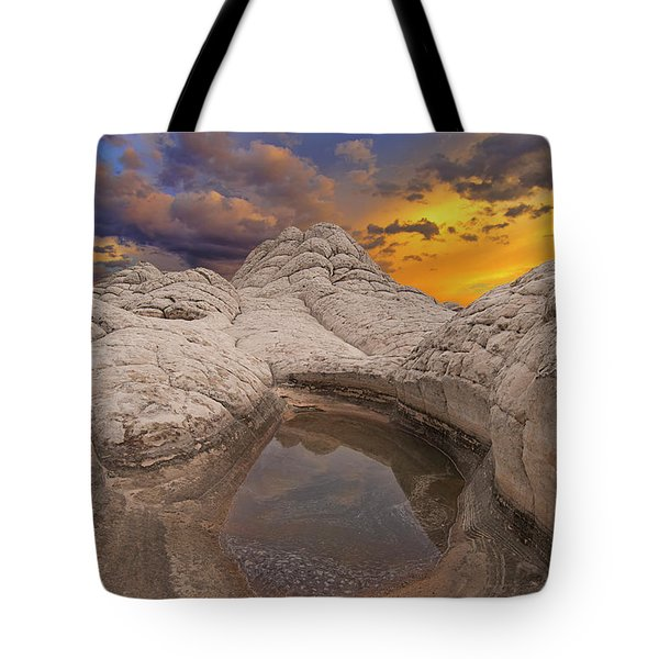 White Pocket Sunset Tote Bag