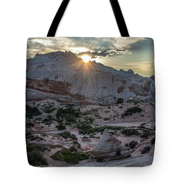 White Pocket Sunset Tote Bag