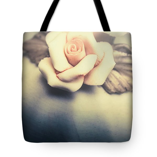White Porcelain Rose Tote Bag
