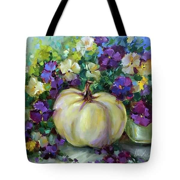 White Pumpkin And Fall Violas Tote Bag