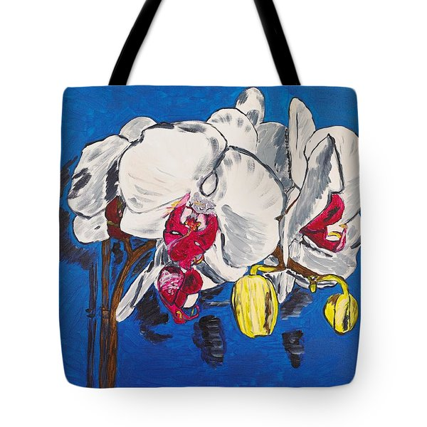 White Purple Phalaenopsis Orchids Tote Bag by Valerie Ornstein