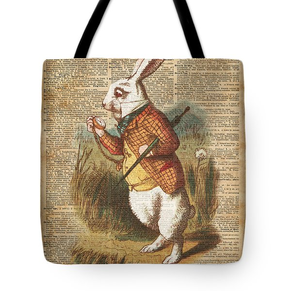 White Rabbit Alice In Wonderland Vintage Art Tote Bag