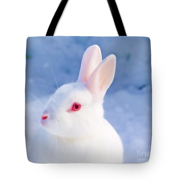 White Rabbit In Snow Tote Bag