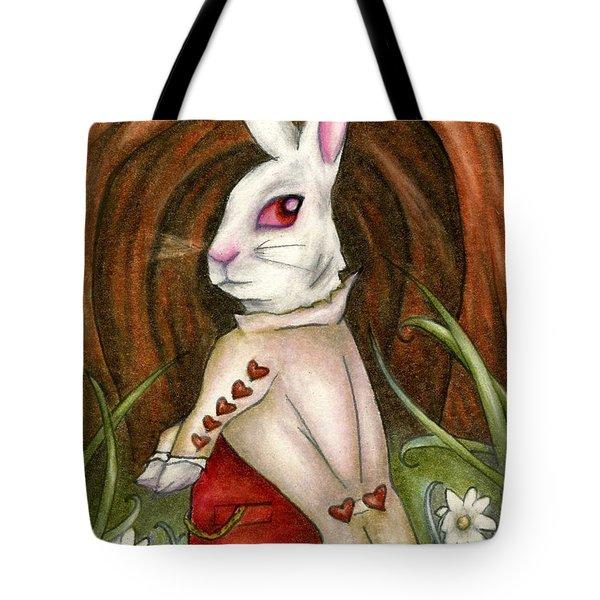 White Rabbit On Way To Wonderland Tote Bag