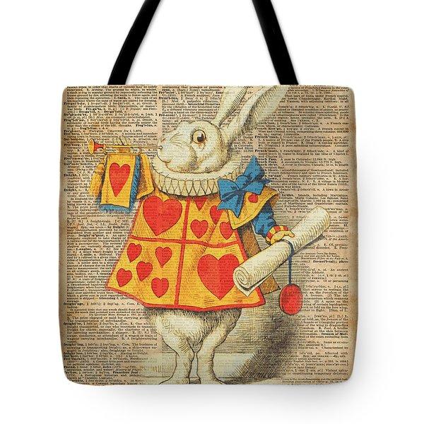 White Rabbit With Trumpet Alice In Wonderland Vintage Dictionary Artwork Tote Bag
