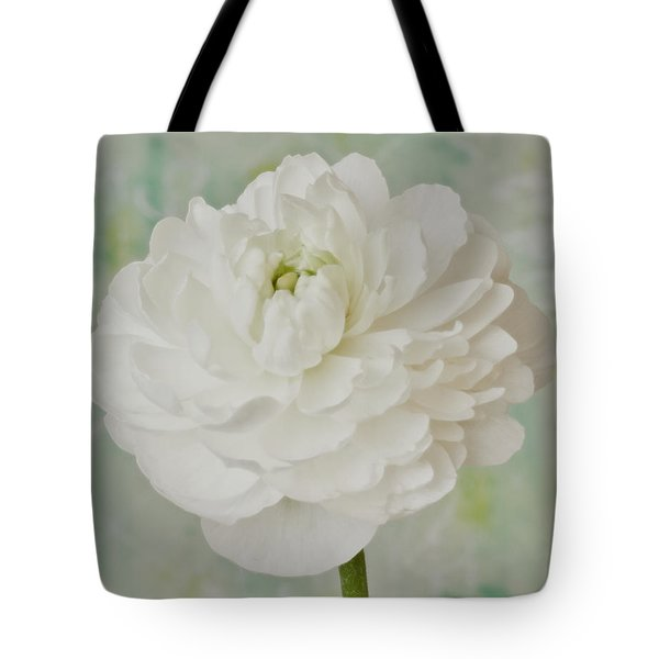White Ranunculus Tote Bag by Sandra Foster