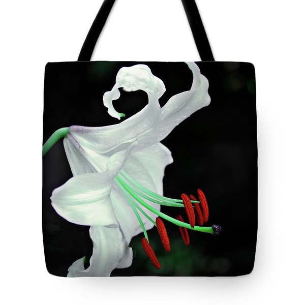 White, Red And Green Lily Tote Bag