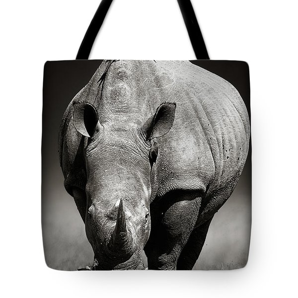 White Rhinoceros  In Due-tone Tote Bag