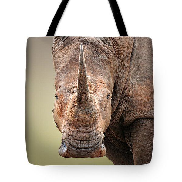 White Rhinoceros Portrait Tote Bag