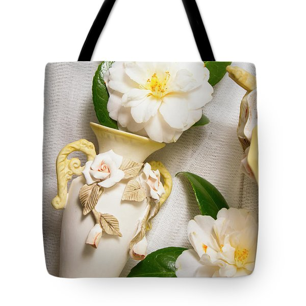 White Rhododendron Funeral Flowers Tote Bag