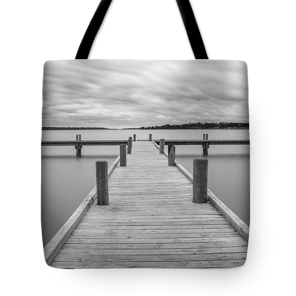 White Rock Lake Pier Black And White Tote Bag