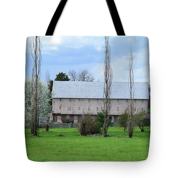 White Roof Barn Tote Bag by Emanuel Tanjala