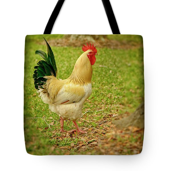 Tote Bag featuring the photograph White Rooster by Charles McKelroy