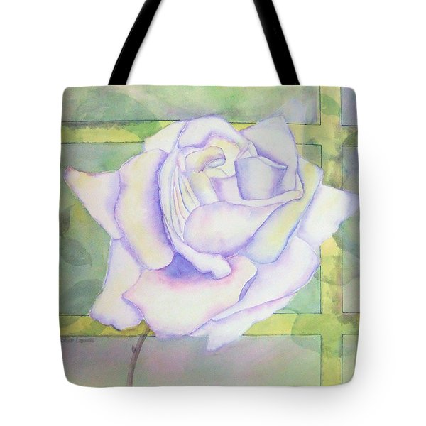 Tote Bag featuring the painting White Rose by Debbie Lewis