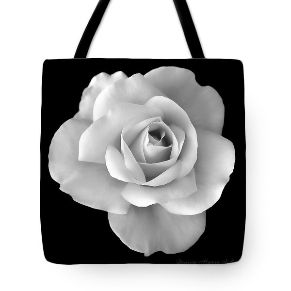 White Rose Flower In Black And White Tote Bag