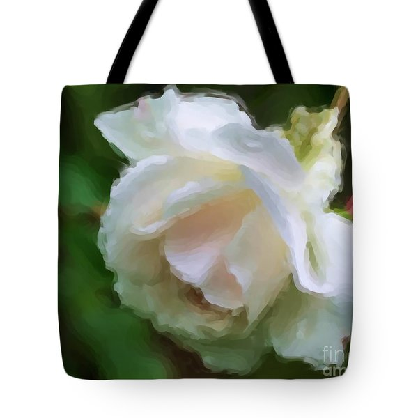 White Rose In Paint Tote Bag