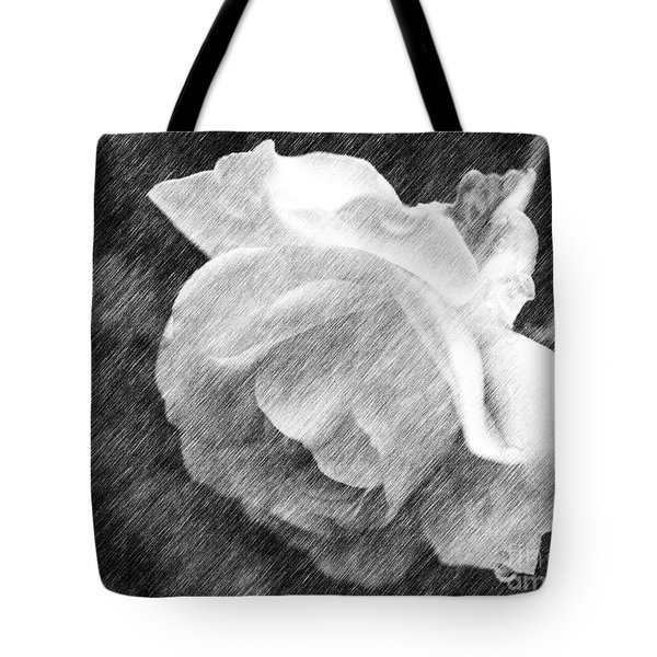 Tote Bag featuring the drawing White Rose In Pencil by Smilin Eyes  Treasures