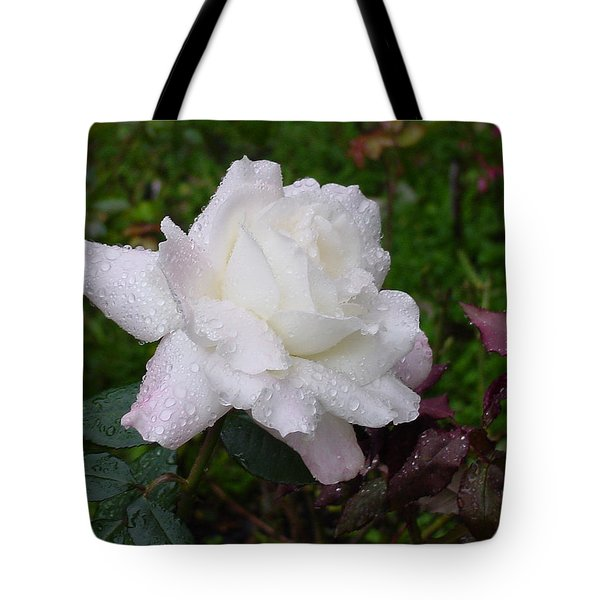 White Rose In Rain Tote Bag by Shirley Heyn