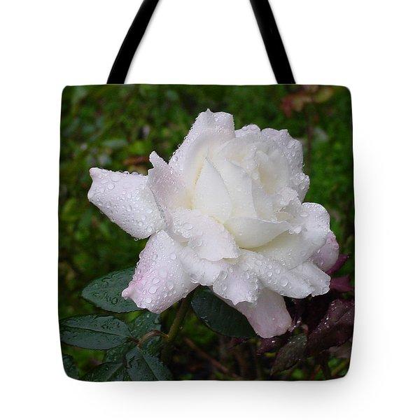 White Rose In Rain Tote Bag