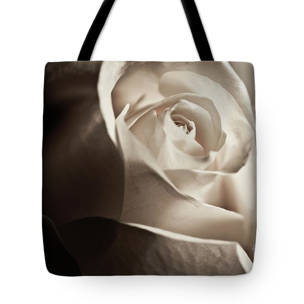 Tote Bag featuring the photograph White Rose In Sepia 2 by Micah May