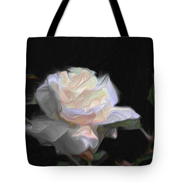White Rose Painting Tote Bag