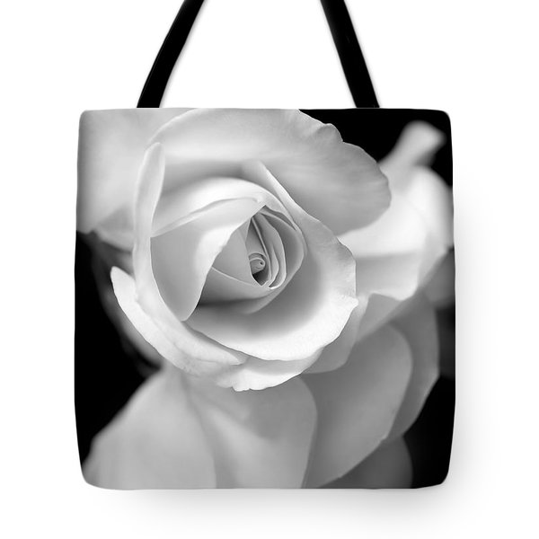 White Rose Petals Black And White Tote Bag by Jennie Marie Schell