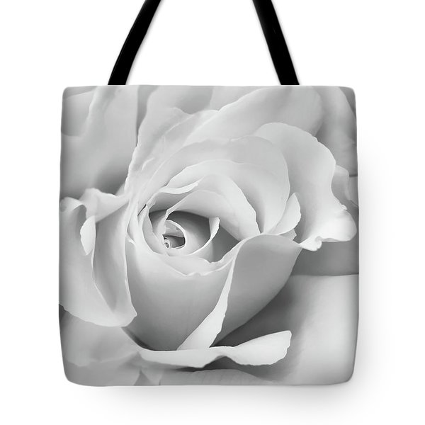 Tote Bag featuring the photograph White Rose Ruffles Monochrome by Jennie Marie Schell