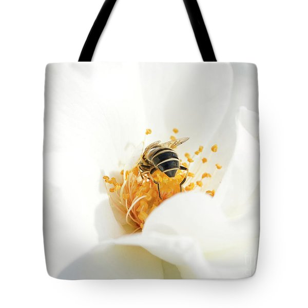 Looking For Gold In A White Rose Tote Bag