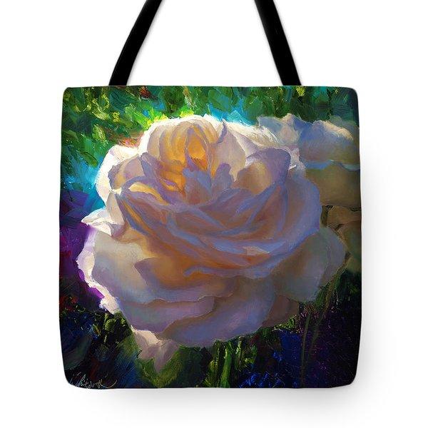 White Roses In The Garden - Backlit Flowers - Summer Rose Tote Bag