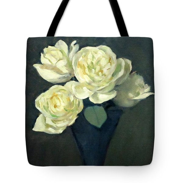Four White Roses In Trumpet Vase Tote Bag