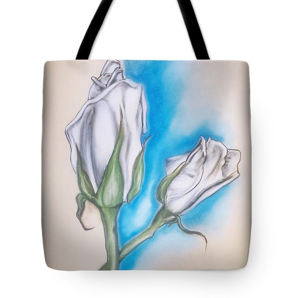 Tote Bag featuring the pastel White Roses by Keith A Link