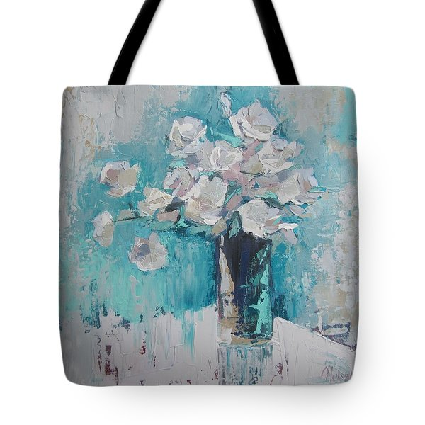 White Roses Palette Knife Acrylic Painting Tote Bag