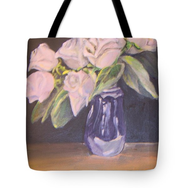 Tote Bag featuring the painting White Roses by Saundra Johnson