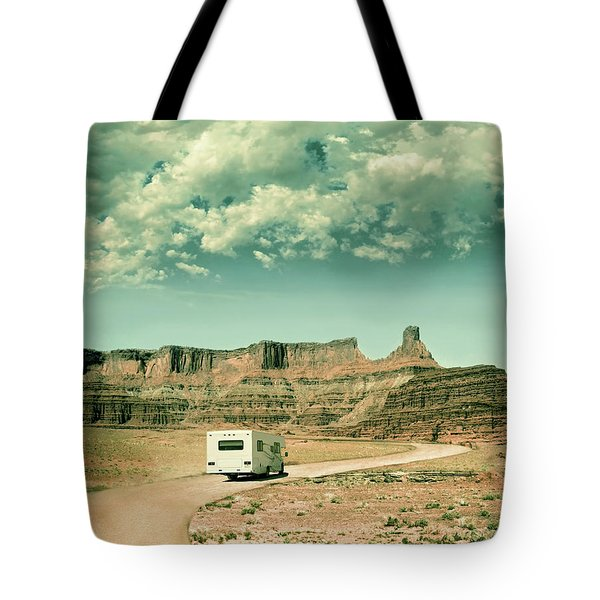 White Rv In Utah Tote Bag by Jill Battaglia